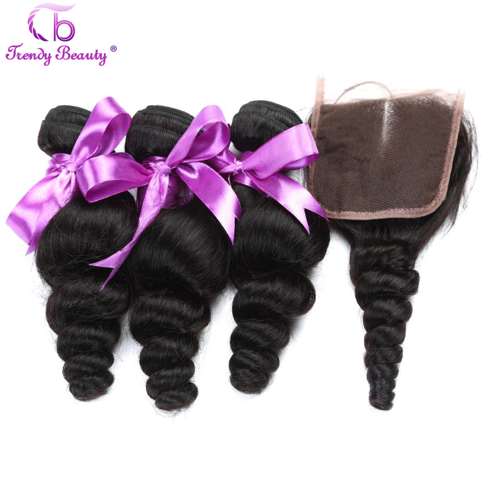 3 Bundles with 4X4 Lace Closure Brazilian Loose Wave 100% Human Hair 8-28 Inches Non-Remy Hair Weaving Color 1B TRENDY BEAUTY
