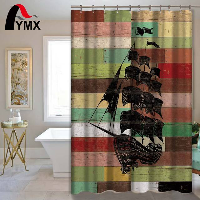 Ship Pattern Waterproof Polyester Fabric Shower Curtain Mediterranean Style Bathroom Decor Home Accessory For 12
