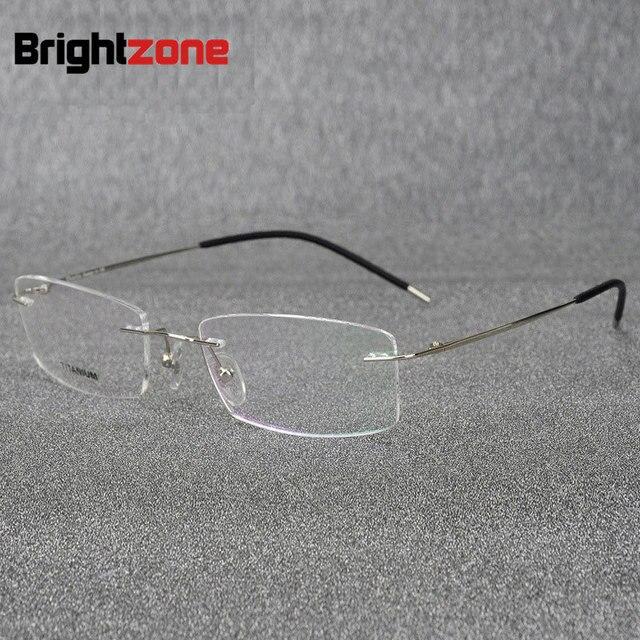 bae35be01a06 Brightzone Light-weight Rimless Titanium Eyeglasses Frame Flexible Titanium  Alloy Slim Temple Legs Rx Optical