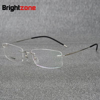 Brightzone Light weight Rimless Titanium Eyeglasses Frame Flexible Titanium Alloy Slim Temple Legs Rx Optical Glasses Spectacles