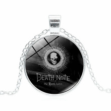 Hip Hop Style Jewelry with Silver Plated Glass Cabochon Death Note Pattern Choker Long Pendant Necklace for Men Women Gift