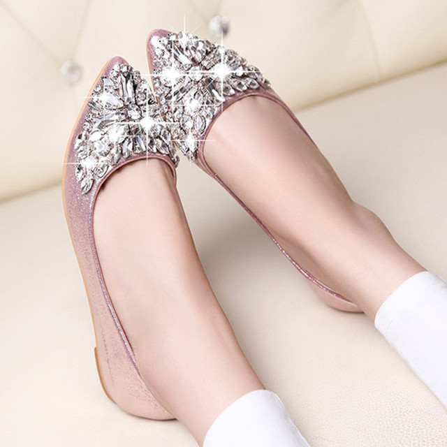 2018 spring and summer Women Flats Shoes Pointed Toe Ladise platform shoes  Casual Rhinestone Low Heel Flat Shoes zapatos mujer e74c6fc0ad23