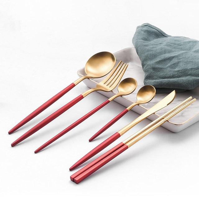 2020 新加入レッドゴールド食器西部カトラリースプーンフォークナイフ箸食器セット食品の写真撮影の背景の小道具