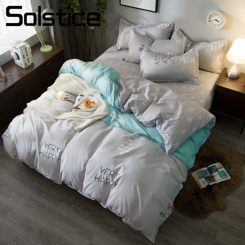Solstice Home Textile Gray Bedding Sets Kid Teen Bed Linens Boy Girls Christmas Tree Pattern Duvet Cover Pillowcase Flat Sheets