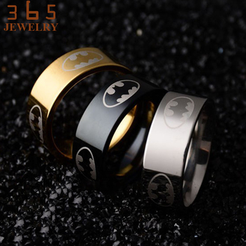 Classic Bat Men Jewelry Never Fade Gold Silver Black Batman Ring Men's Finger Band Lord of the Friendship Stainless Steel Rings