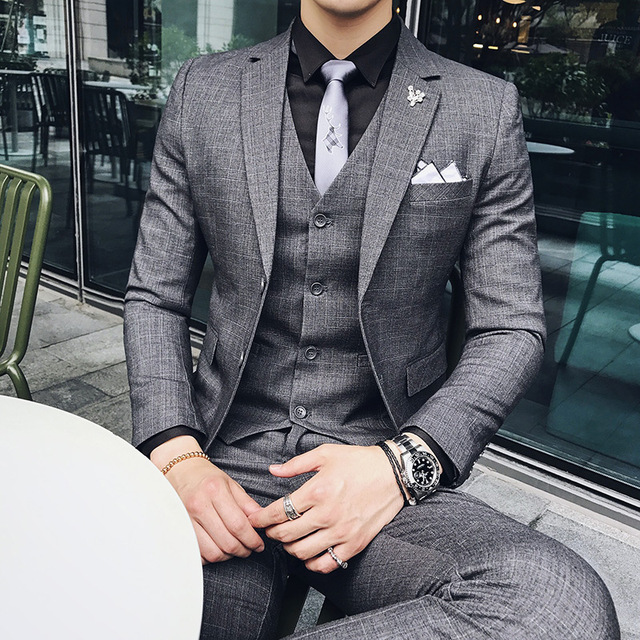 Men S Formal Wearl Suits Wedding Dress Suit Jackets Vest Pants High