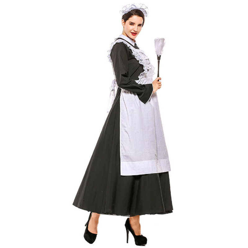 1aa59c028d48 French Maid Costume Black White Waitress Fancy Dress Outfit Sizes 6 to 24  Women's Fancy Dress ...
