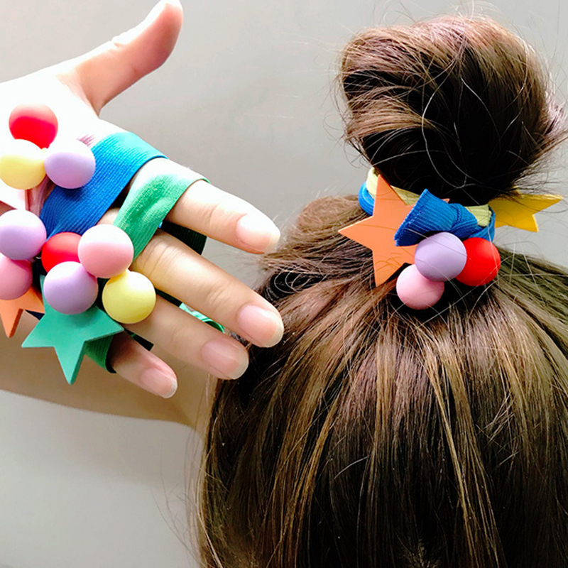 Ruoshui Woman Candy Color Scrunchies Girls Star Ball Elastic Hairband Hair Ties Gum Rope Ladies Hair Accessories Rubber Band