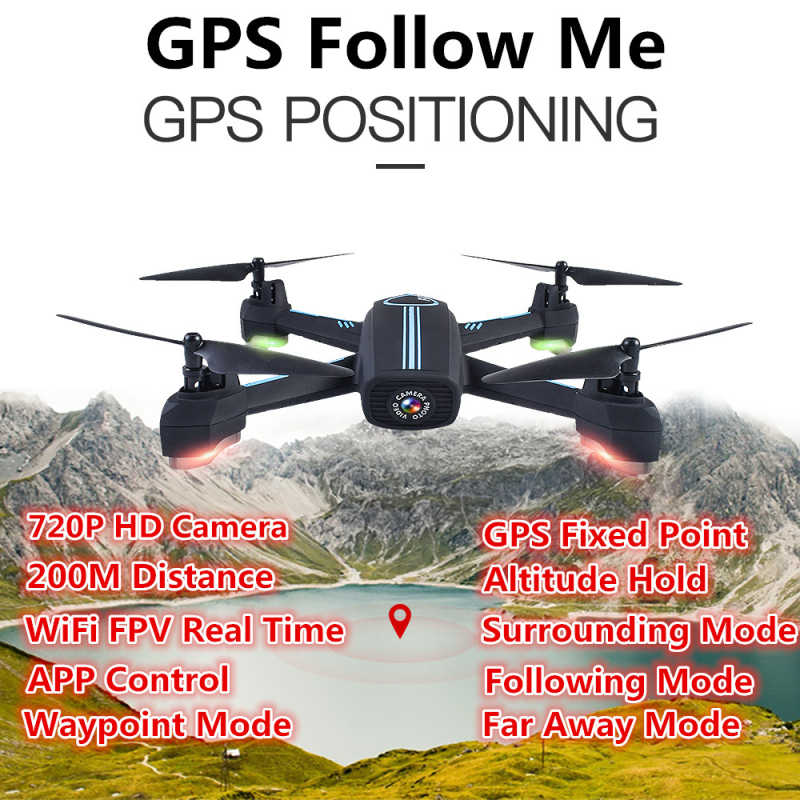 2018 Upgrade HD Camera Wifi FPV <font><b>GPS</b></font> Positioning RC <font><b>Drone</b></font> 2.4G Auto <font><b>Follow</b></font> Me Waypoint Plan Flying RC Quadcopter VS <font><b>X183</b></font> GW198 image