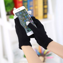 Warm Winter gloves knitted Gloves men women gloves candy color Mittens for Mobile Phone Tablet Pad