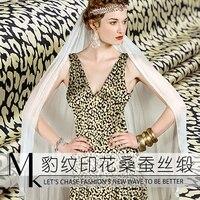 Leopard print digital printed pure silk fabric 30mm heavy weight satin pure silk fabric 116 cm printed dress fabric silk cloth