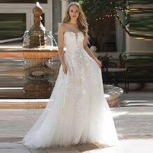 Elegant A-Line Boho Beach Wedding Dresses Strapless Bridal Gowns Custom Vestido De Noiva With Lace Appliques Button Back