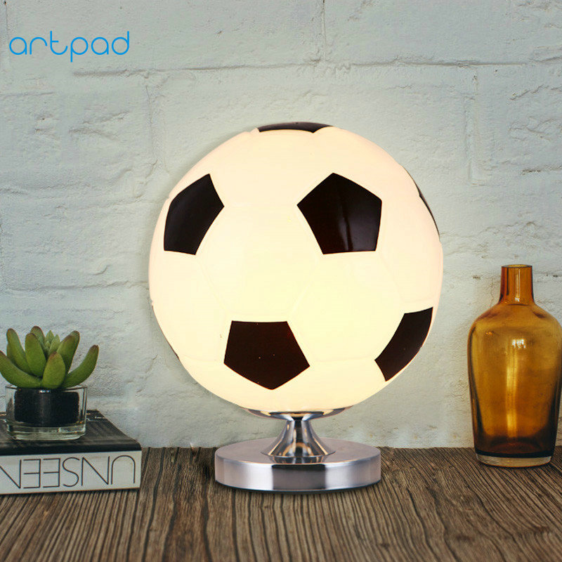 Artpad Creative Design LED Football Table Lmap Glass Lampshade E27 Base 3D Basketball Lamp for Kid Boy Bedroom Desk Lighting