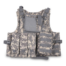 Canvas Knitted Security Multi-Function Bag Army vests Male Military vest  Wide Elastic Buckle Knife Gun pocket color random