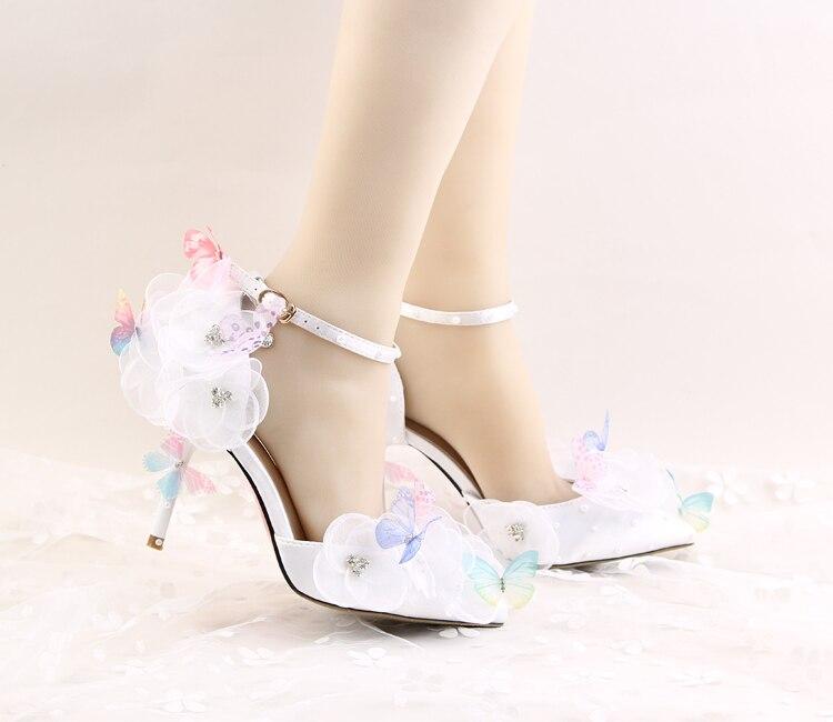 Vestido Rhinestone Novia La Tacones Mujeres Femenina Impermeable 6 Zapatos Wristband 1 Flor Blanco De Mariposa Noche Altos Las Partido 3 5 6WOqW8wFx