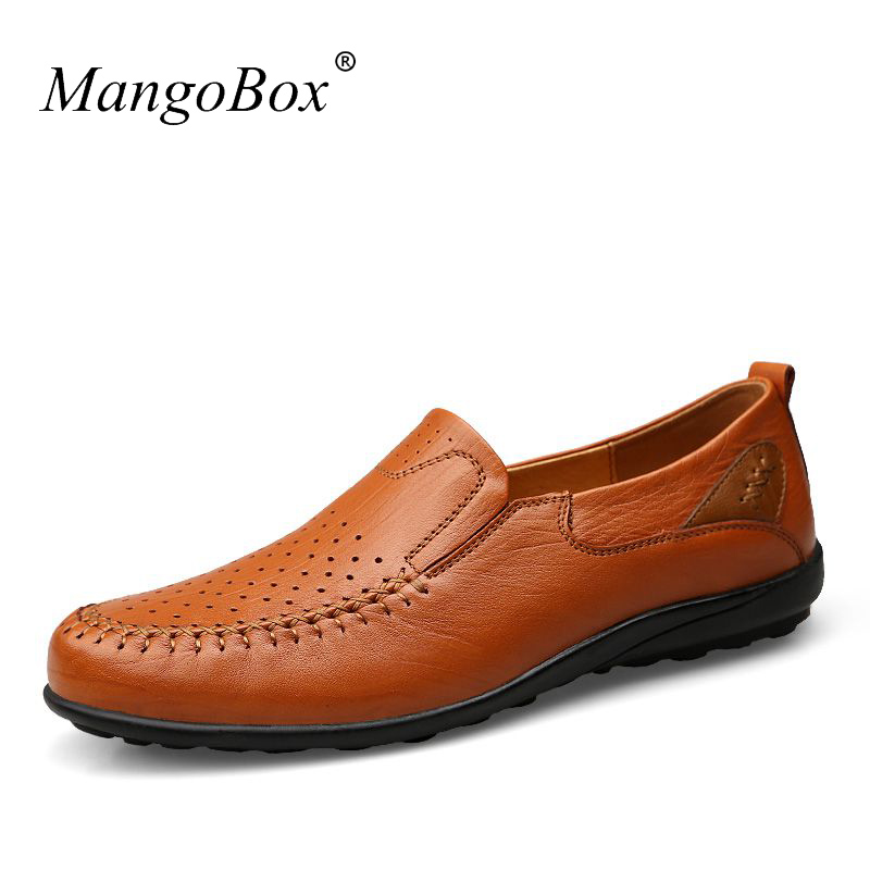 MangoBox Cow Leather Shoes Men Summer Breathable Flat Shoes Men Good Quality Mens Casual Flat Sneakers Walking top brand high quality genuine leather casual men shoes cow suede comfortable loafers soft breathable shoes men flats warm