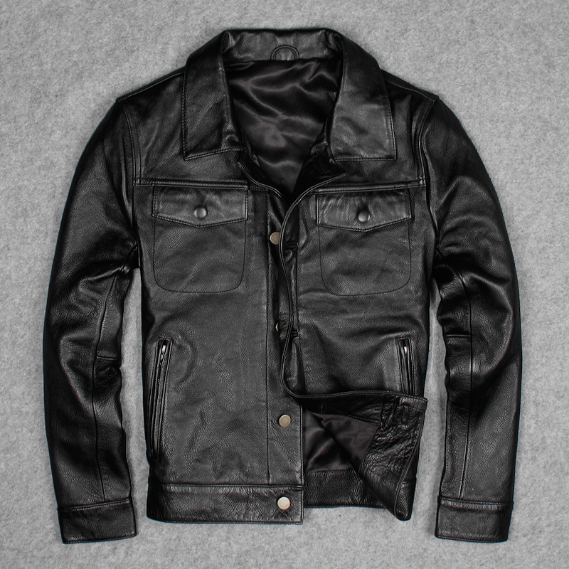 Cheap Price Cow Genuine Leather Jackets Men's Short Casual Leather Jackets ,Slim Motorcycle Genuine Leather Coats