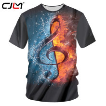 CJLM Fashion Rock Style T-shirts Men Cool Print DJ Disco Music And Guitar 3D Tshirt Neutral Casual Fitness Short Sleeve Shirts(Hong Kong,China)