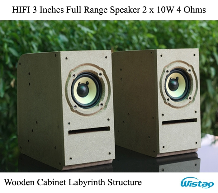 IWISTAO HIFI Speaker 3 Inches Full Range Wooden Cabinet Labyrinth Structure 2x10w 4 Ohms 85dB Rough Surface for Tube Amp Audio