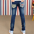 Girl children jeans brand clothing dark blue jeans  new 2015 teenage girls autumn skinny casual long pants spring clothing