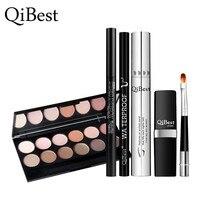 QiBest 6Pcs Makeup Set Maquillaje Paleta Mascara Eyebrow Pencil Eyeshadow Plate Eyeliner Pen Lipstick Brush Cosmetics