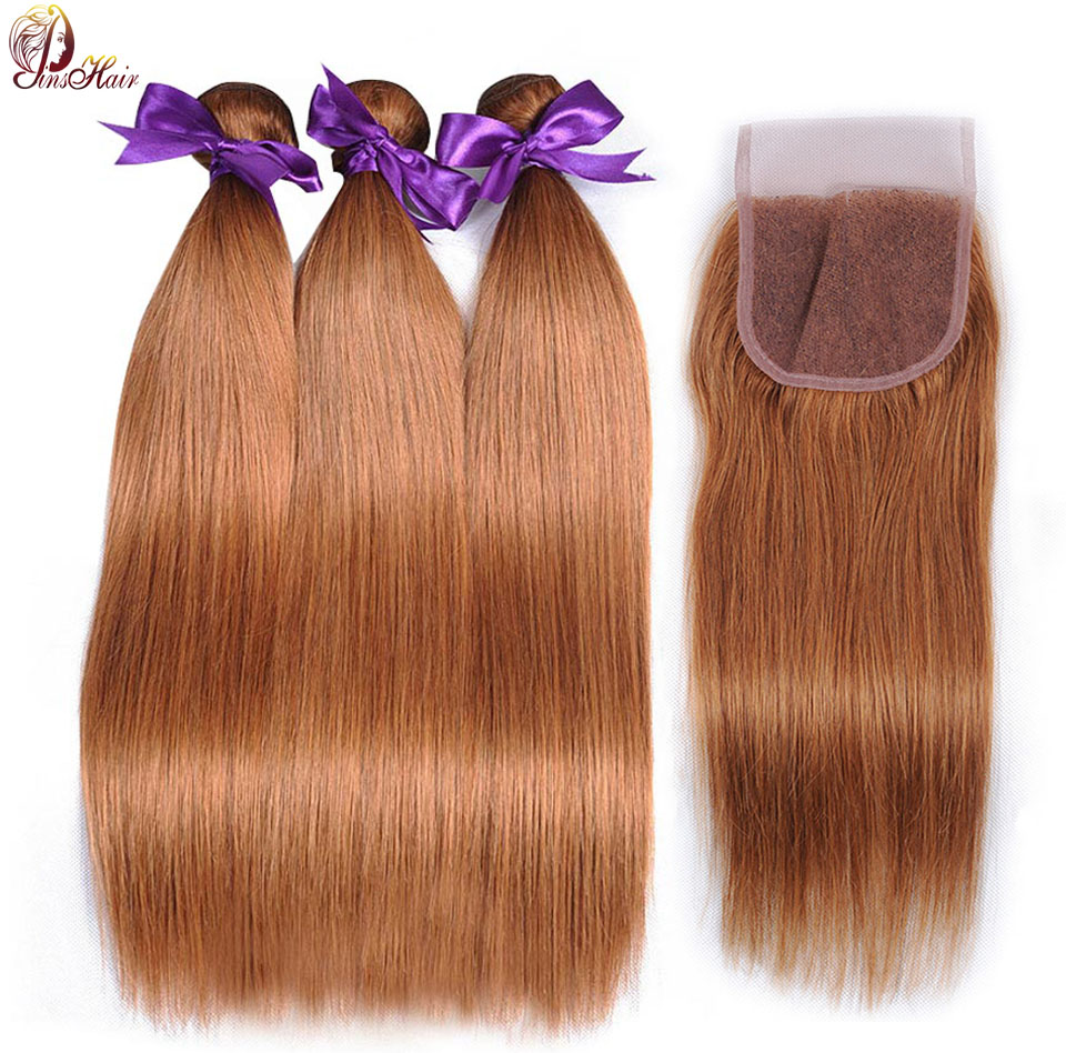 Pinshair Color 30 Dark Honey Blonde Bundles With Closure Human Hair Straight Peruvian Hair Bundles With