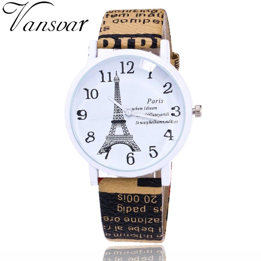 Vansvar Brand Fashion USA Flag And Eiffel Tower Watch Casual Women Watches Vintage Leather Quartz Watches