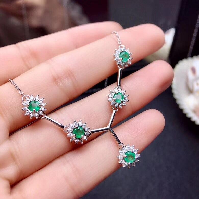 Collier pendentif vert émeraude naturel S925 argent collier de pierres précieuses naturelles chaîne Diana ronde élégante femmes cadeau bijoux
