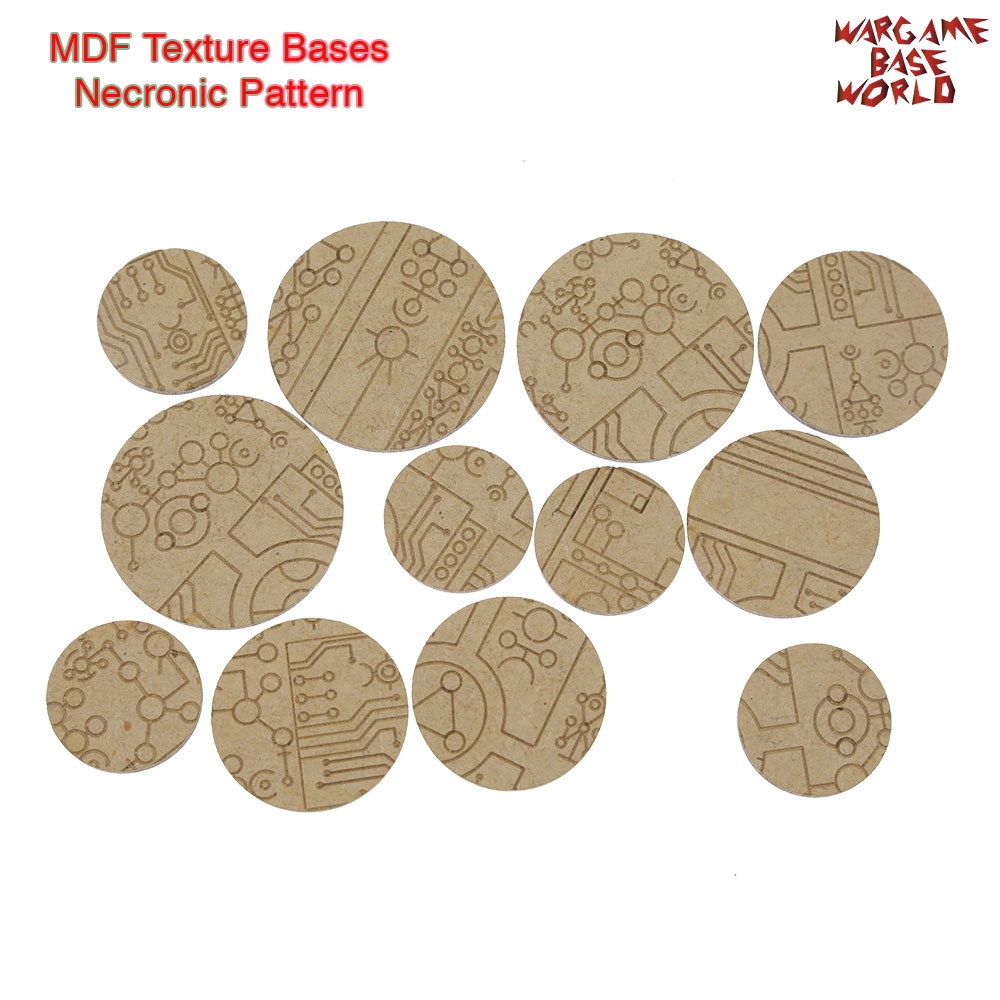 MDF Texture Bases - 25mm - 40mm Necronic Pattern Bases - Texture Bases