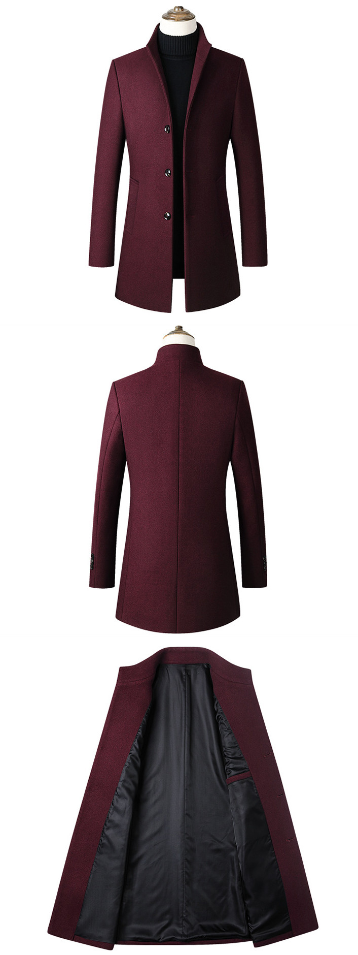 Winter Wool Jacket Men's High-quality Wool Coat casual Slim collar wool coat Men's long cotton collar trench coat 6