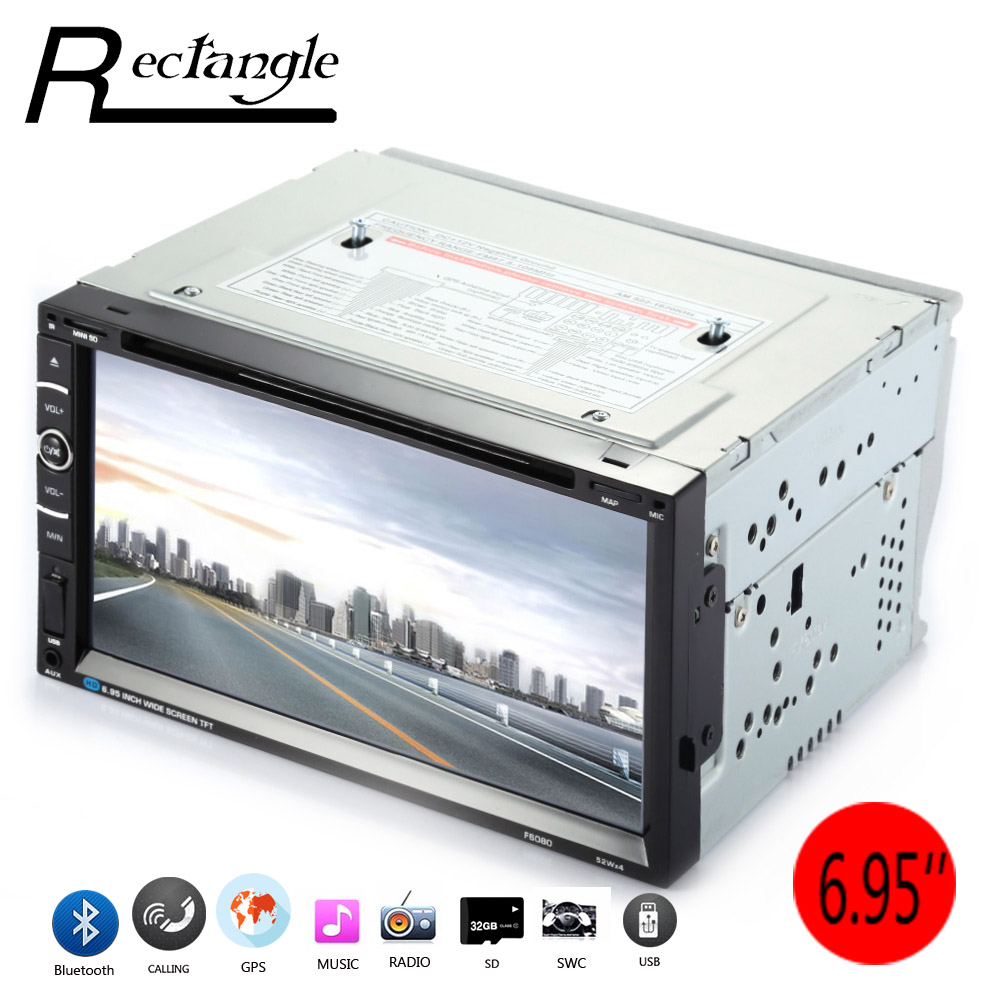 F6080 6.95 Inch Car DVD Player 2 Din Support Steering Wheel Control Video Audio GPS Navigation Radio FM Wince Remote Control free shipping car refitting dvd frame dvd panel dash kit fascia radio frame audio frame for 2012 kia k3 2din chinese ca1016