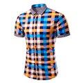 Para hombre de la Marca de Verano de Manga Corta Camisa Masculina Sociales Inglaterra Estilo Chemise Homme Camisas Delgadas Ocasionales de la Raya de La Tela Escocesa Para Hombre TU1014