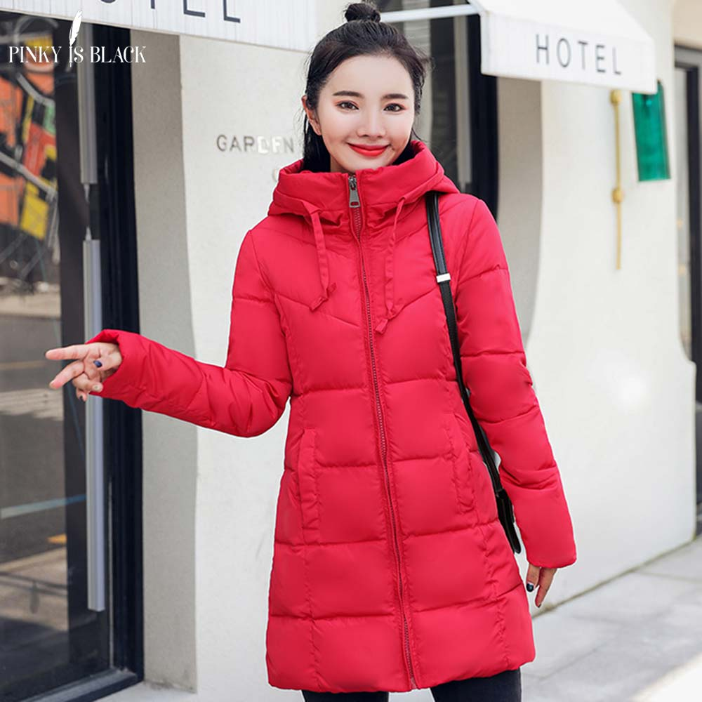 PinkyIsBlack New Thick Warm Hooded Long Down   Parkas   Women Down Jacket Winter Jacket Women Cotton Padded Women Winter Coat Female