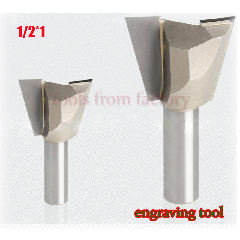 1pc 1/2*1 Woodworking cutter Dovetail milling cutter CNC engraving tool gong cutter 1/2 Shank