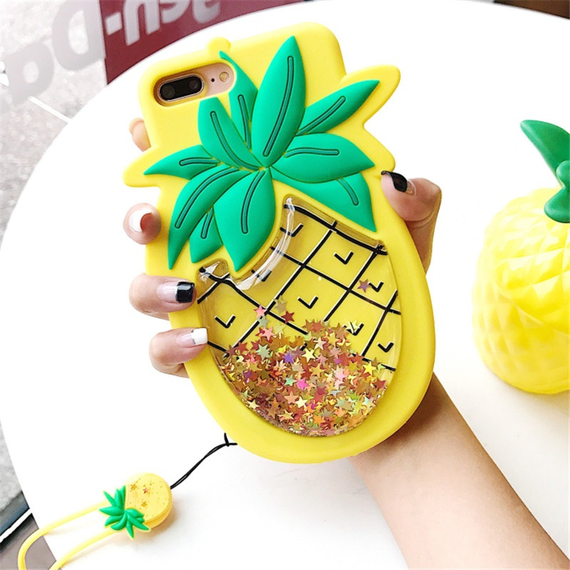 Cute Creative Shell Case For IPhone7plus 8 8Plus X Sand Decompression Pineapple For Apple 6plus Silicone 6S With Strap