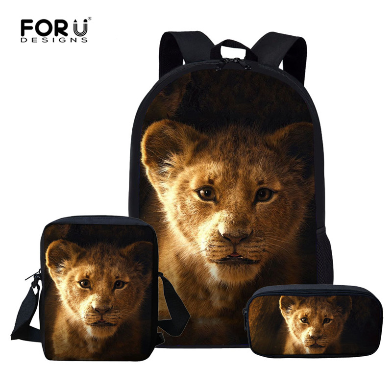 FORUDESIGNS School-Bags-Set Backpacks Knapsack Kids Satchel Child King Lion Boys Lightweight