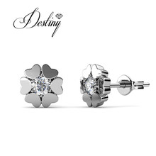 Destiny Jewellry heart earing embellished with Swarovski Crystal DE0005(China)