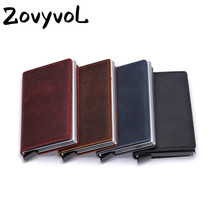 ZOVYVOL 2019 NEW Cowhide Leather Slim Vintage Non-scan Wallet Unisex Metal Blocking Credit Card Holder With RFID  Dropshipping