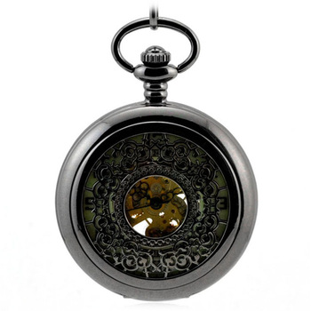 Luminous Black Retro Automatic Mechanical Pocket Watch Men