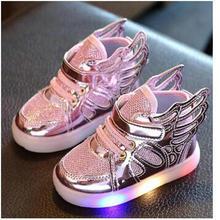 Бесплатный подарок 2017 новый девушки светящиеся светодиодные shoes ангельские крылья мальчики повседневная led shoes дети кроссовки размер 21-30(China (Mainland))