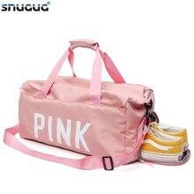 SNUGUG Big Pink Travel Mens Sport Shoulder Bag Women Nylon Girls Gym Bags With Shoe Waterproof Men For Fitness 2019