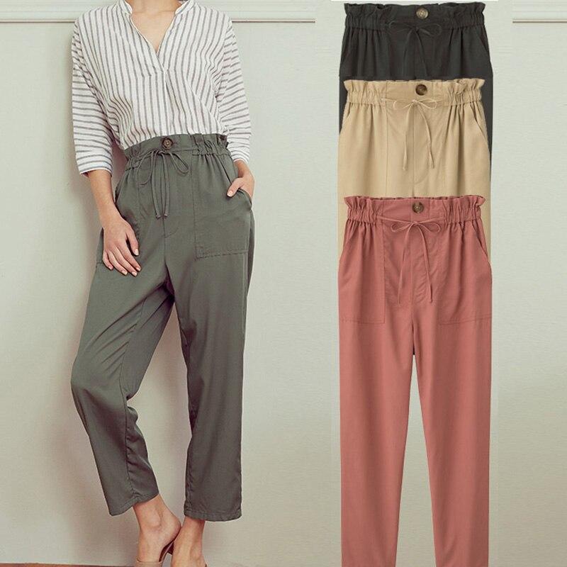 Pantalon été à col étroit ceinture dentelle sac en papier pantalon taille haute pantalon noir pêche beige olive pantalon couleur Pure