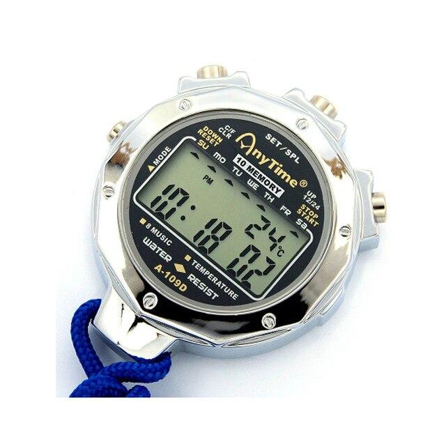 10 memory cronometro Digitale portatile Sport Cronometro timer intervallo timer del Metallo professionale arbitro cronografo
