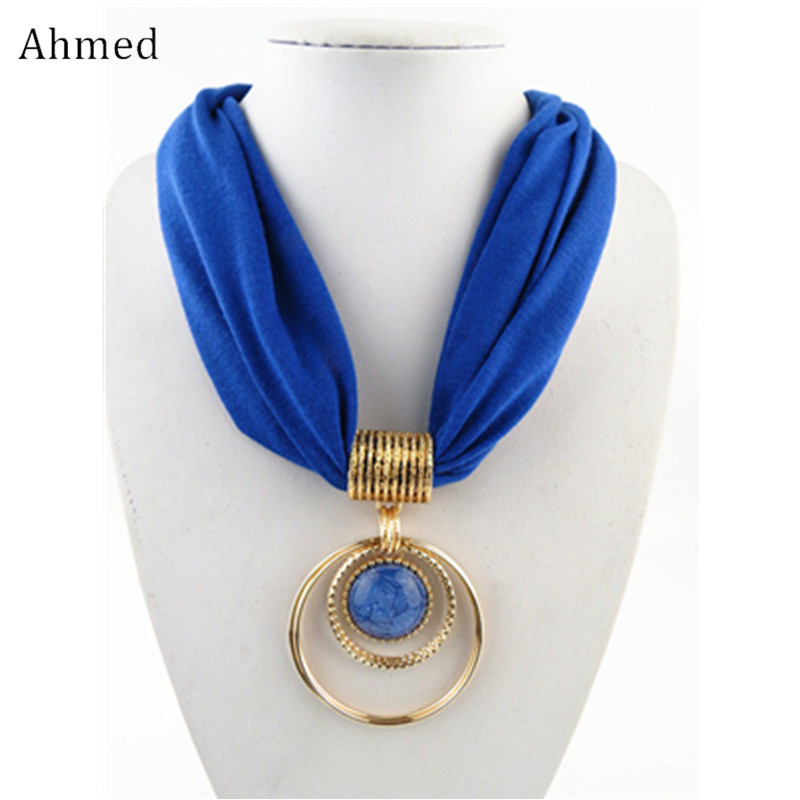 Ahmed Fashion Bohemian Simple O-Round Resin Pendant Scarf Necklace for Women New Design Silk Collar Necklace Jewelry stylish bohemian rhombus pattern fringed edge winter scarf for women