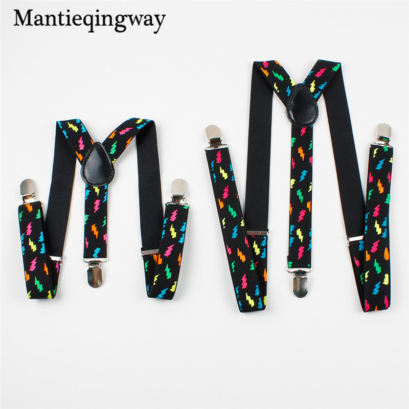 Mantieqingway Adult Children Suspenders Set Adjustable Elastic Kids Suspenders Fashion Flash Printed Braces 3 Clip-on Suspender