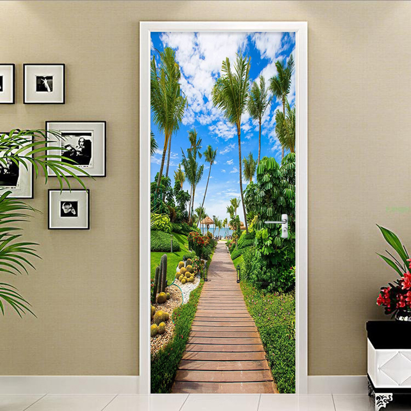 Modern Sea View Beach Landscape Door Sticker Living Room Hotel Self-Adhesive Waterproof Wall Mural Home Decor Wallpaper Stickers