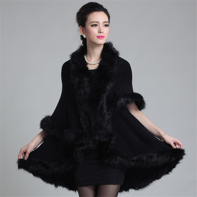 New Fashion Autumn Winter Noble Long Wool Cashmere Imitation Faux Fur Coat Women Cardigan Fur Poncho Shawl Outer Garment