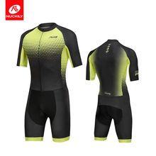 купить NUCKILY Triathlon suit Men's Cycling Jersey One Piece Sports Body Wear Set Short Sleeve MQ008 дешево