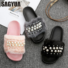 House Design Women Girlish Mujer Casual Fashion Babouche Downy Pearl Peep  Toe Thick Soled Slipper Sandals bd2b524e3c74