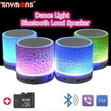 Portable Mini Bluetooth Loud Speaker Dance Light Bass Stereo USB TF Card AUX Line in Speakers For Phone Computer With Mic Radio